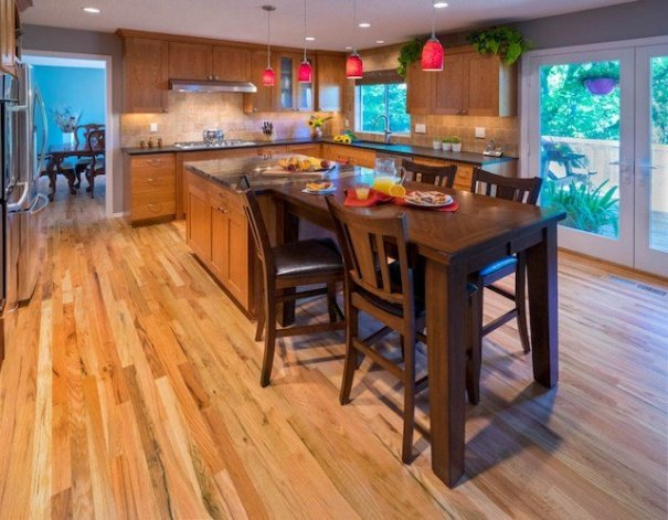 Craftsman kitchen remodel with large built in table