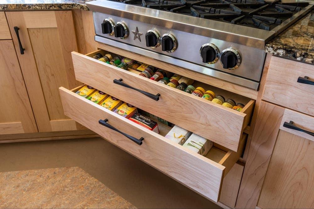Kitchen Spice Drawer under Stove
