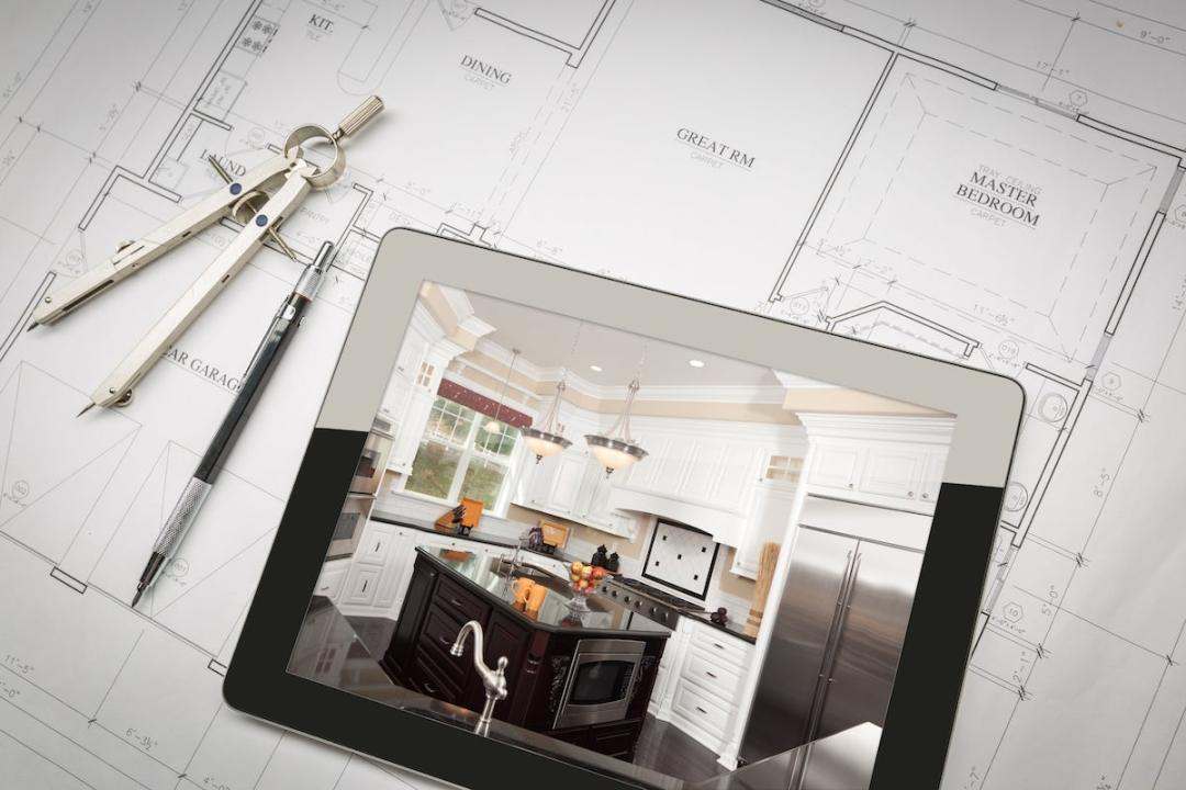 remote home remodel project from afar with house plans and ipad