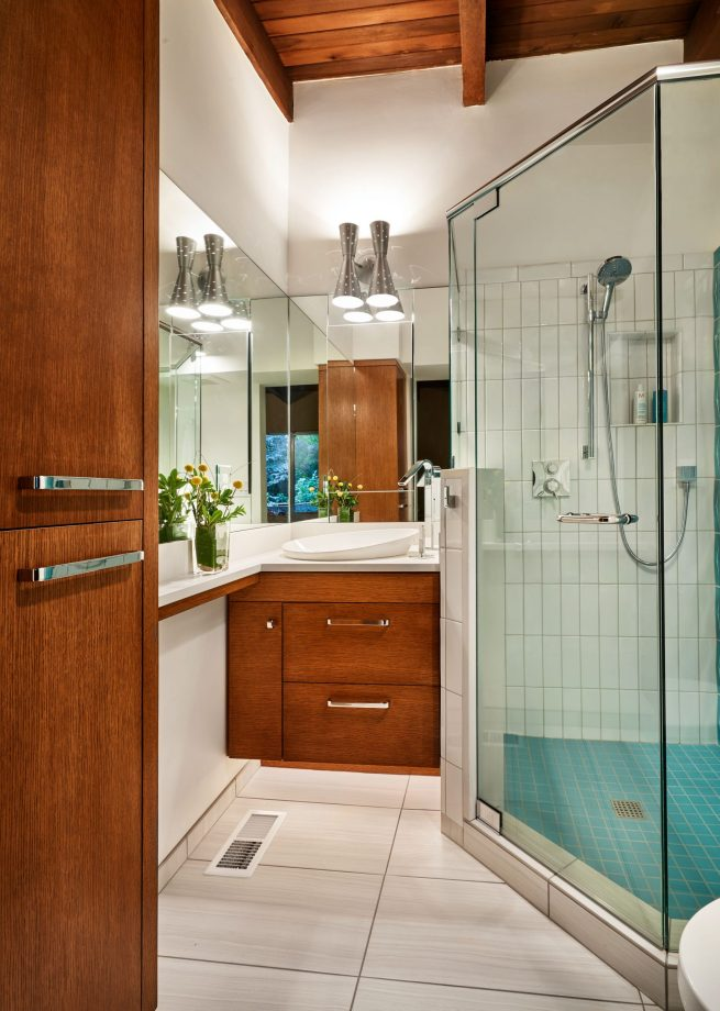 modern ada compliant bathroom with glass doors and one step
