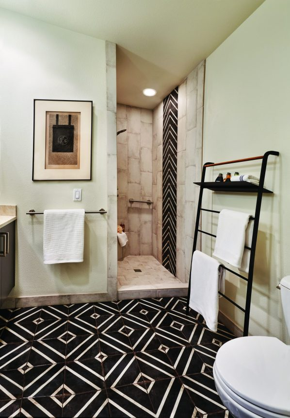 remodeled modern bathroom with a one step shower and handrails