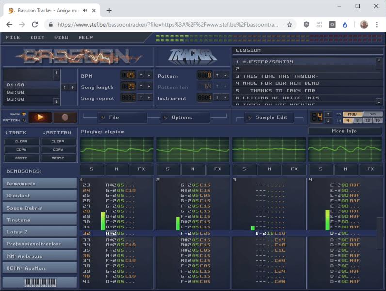 Музыкальный трекер Amiga и проигрыватель на JavaScript