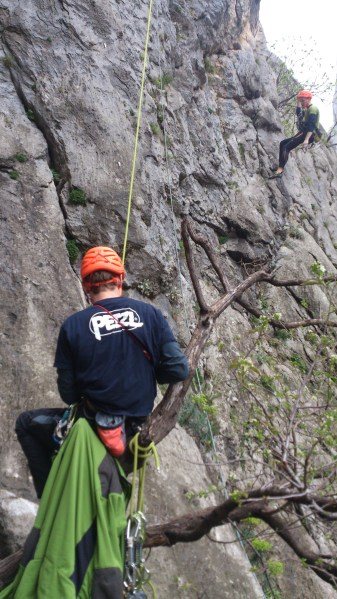 Jurica belaying in pitch 1. session. Photo: L. Mudronja