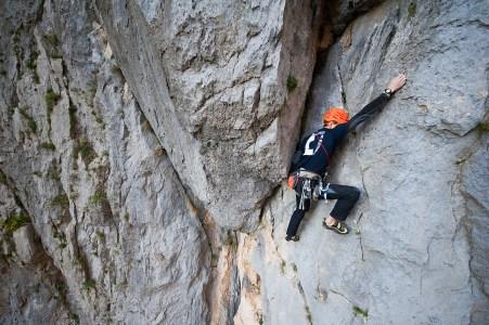 Jurica climbing the 1st pitch