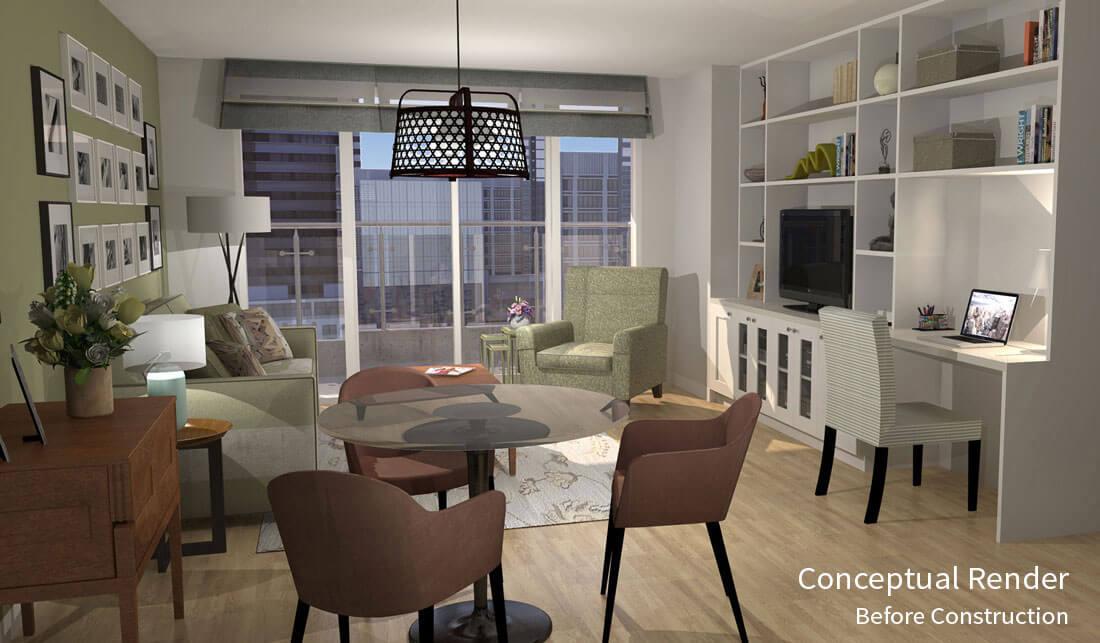 condo, renovation, interior design, downtown, render