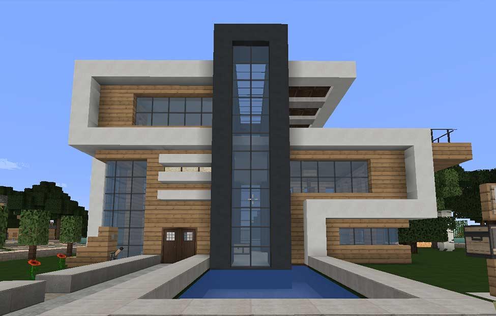 Modernes Haus mit dunkelgrauem Beton - Texturepack: FlowsHD