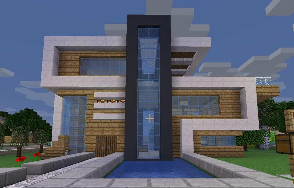 Modernes Haus mit dunkelgrauem Beton
