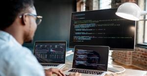computer screens showing code