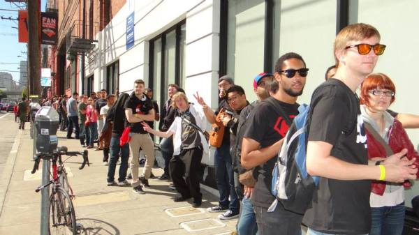 People waiting to get into the IGN office.
