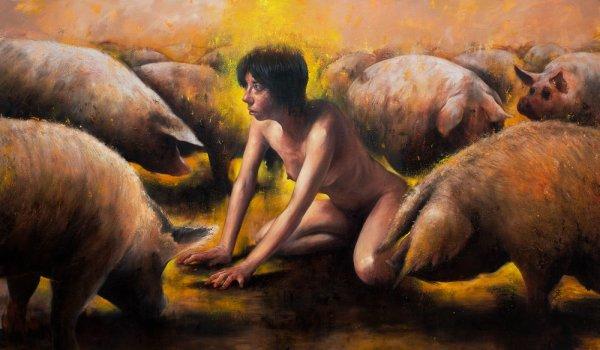 photo du print de jean-philippe escafre alpha femme entourée de cochons