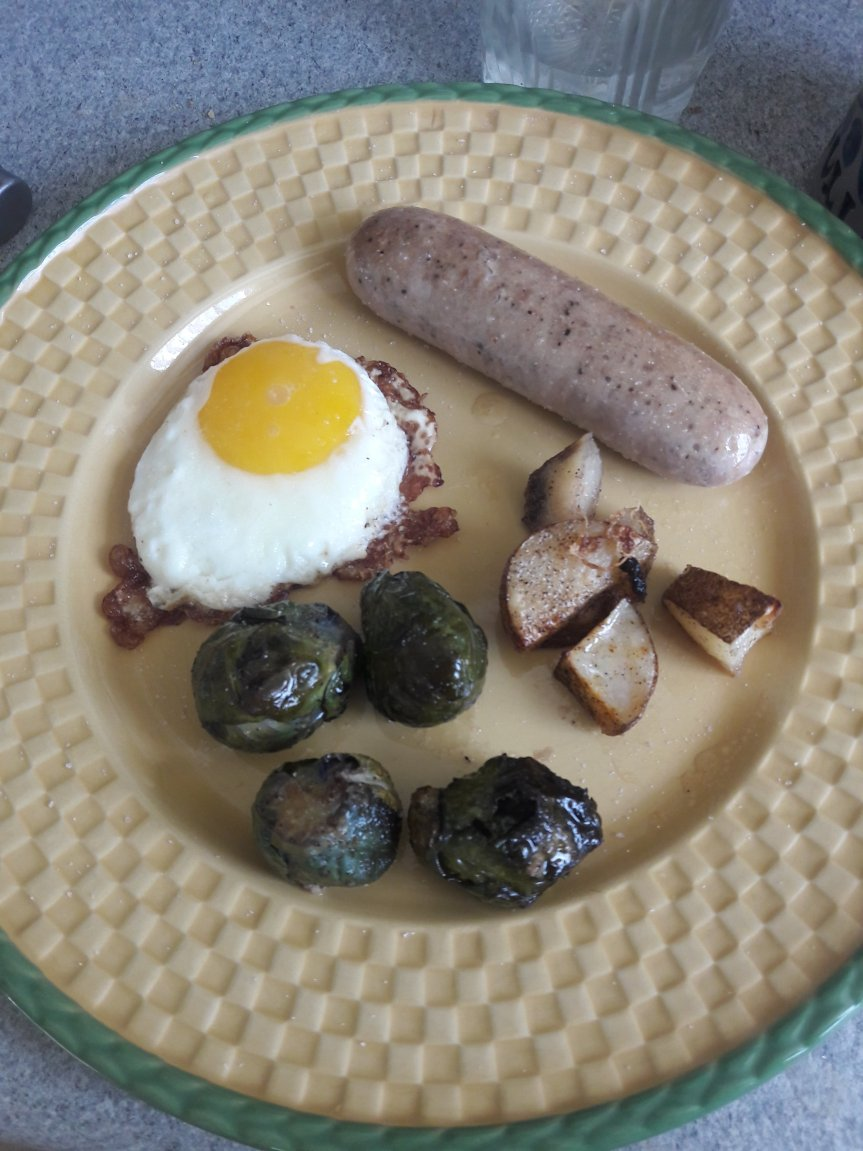 Fried Bratwurst, Eggs with Potato Brussel Sprout Hash Whole30 Lunch
