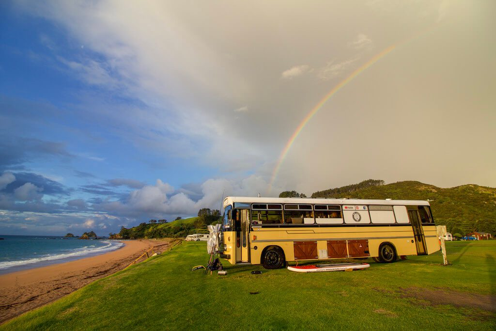 Downsizing Families - We live on a bus - rainbow Tauranga Bay. The Leveraged Mama.