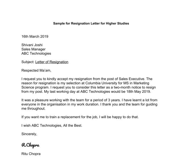 Resignation Letter for Higher Studies Format & Samples - Leverage Edu