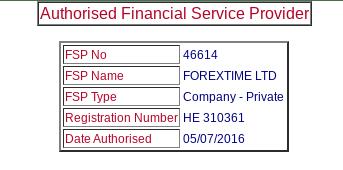 FXTM (Forextime) FSCA Regulation