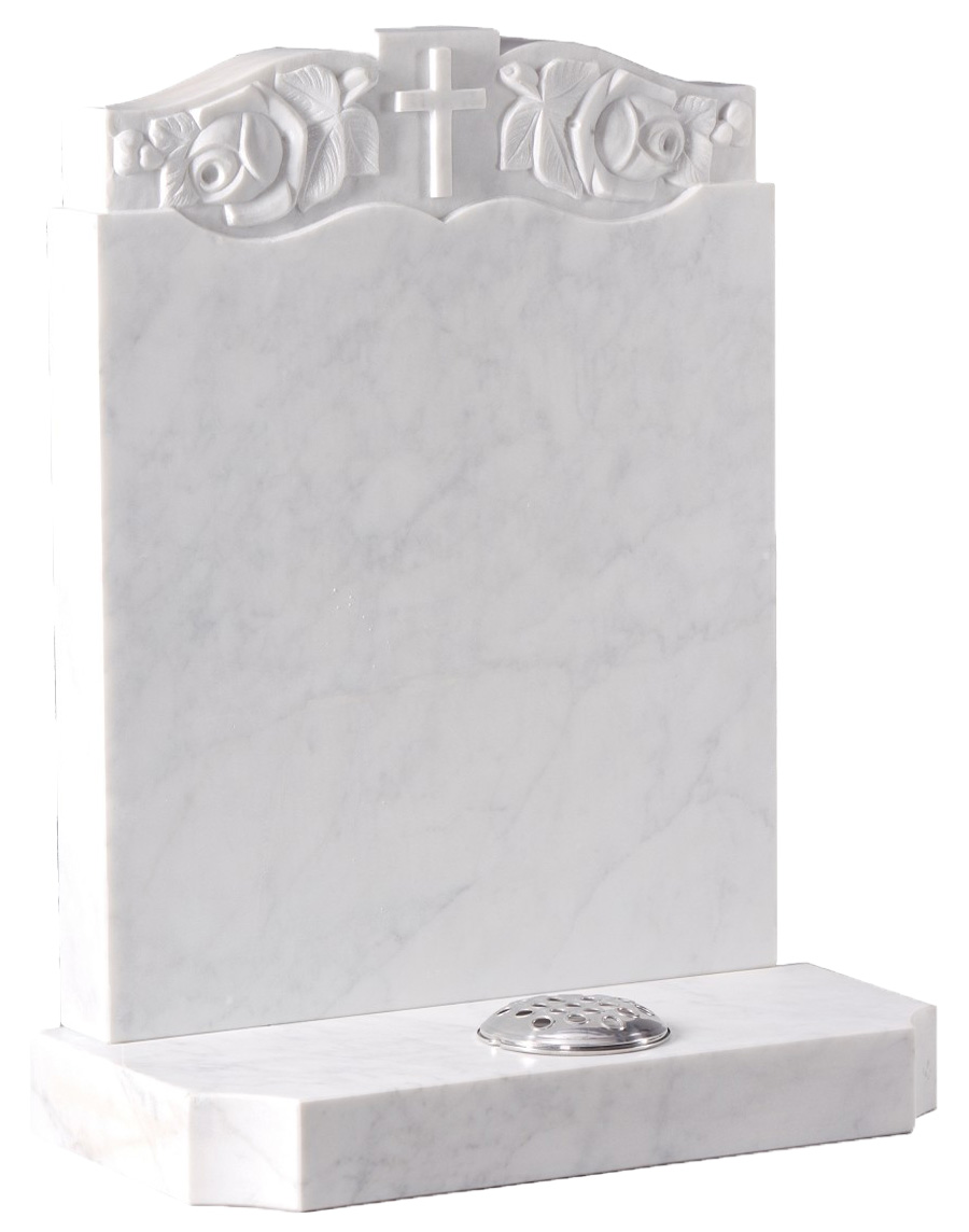 Italian Marble Headstone with Cross and Roses