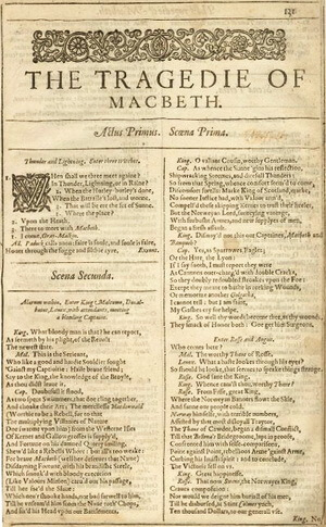 macbeth shakespeare first folio 1623