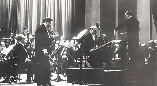 George Enescu Pablo Casals and George Georgescu with the Bucharest Philharmonic Orchestra (1939)