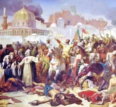 Capturarea Ierusalimului de către cruciaţi. Pictură din secolul XIX Sursa The Vintage News