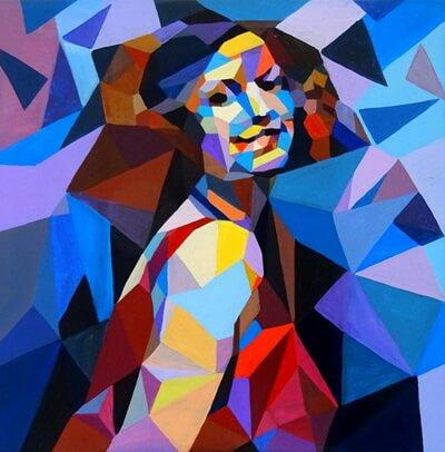 Autoportret interpretat 4D, pictură pe pânză