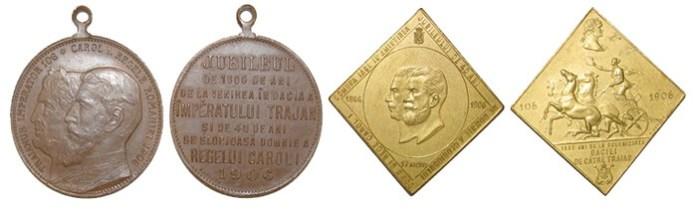 Medalii jubiliare 1800 de ani de la cucerirea Daciei și 40 de ani de domnie a regelui Carol I gravori Radivon stânga și Saraga dreapta