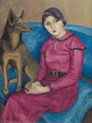 """""""Portret de femeie cu câine"""", 1932, ulei pe pânză. Lucrare expusă în colecția """"EGAL. Artă și feminism în România modernă"""", Muzeul Național de Artă al României"""