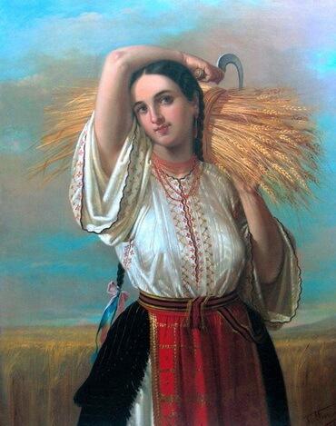 """Gheorghe Tattarescu (1820–1894), """" Ţărancă din Vlaşca"""""""