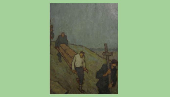 """Nicolae Tonitza, """"Înmormântarea unui român în Bulgaria"""", ulei pe carton, Muzeul Național de Artă al României (2)"""