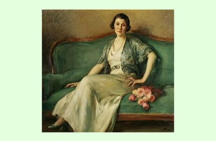 """Fernand Toussaint, """"Tânără cu buchet de trandafiri, așezată pe o canapea verde"""""""