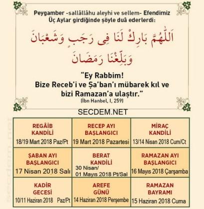 Calendarul musulman Hicri 2018