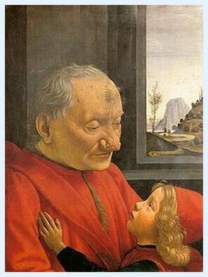 """Domenico Ghirlandaio, """"Portret de bătrân cu nepotul său"""", tempera pe lemn, c. 1490"""