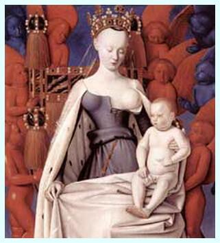"""Jean Fouquet, """"Fecioara cu pruncul înconjurat de îngeri"""", c. 1450"""