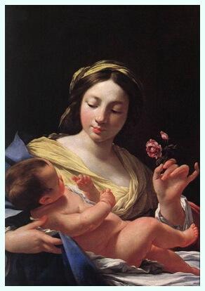 """Simone Vouet (9 ianuarie 1590–30 iunie 1649), pictoriță franceză, """"Fecioara și pruncul cu trandafir"""""""