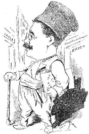 """Caragiale la părăsirea ziarului """"Epoca"""", caricatură de C. Jiquidi. Sursa """"Foaia populară"""", nr. 4/1901"""