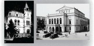 Leviathan.ro Clădirea Radio România, distrusă în 1944 (stânga). Teatrul Național din București (1852 - 1944)