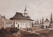 Mănăstirea Putna, 1850 – acuarelă de Franz Xaver Knapp. Sursa: dragusanul.ro