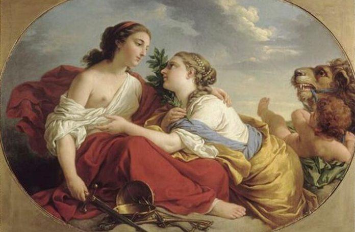 """Mihaela Popescu Louis-Jean-François Lagrenée, """"Justiția și Clemența"""", 1765, Muzeul Castelului Fontainebleau"""