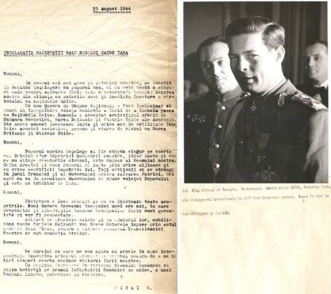Proclamația Majestății Sale Regele Mihai I către țară. Sursa foto: Arhiva scrisă a SRR