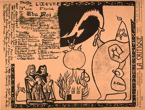 "Program de sală la ""Ubu Roi"" de Alfred Jarry Théâtre de l'Œuvre, Paris. Premiera 10 decembrie 1896"