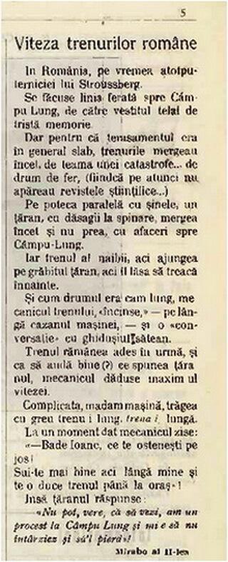 """Articol satiric din """"Viața Capitalei"""", I, nr. 1, 20 decembrie 2011, p. 5: """"Viteza trenurilor române"""". Semnat: Mirabo al II-lea"""