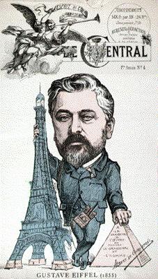 Caricatura lui Eiffel publicată în 1887 cu ocazia protestului artiștilor