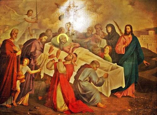 """Constantin Lecca """"Adormirea Maicii Domnului"""", icoană din Biserica Sf Nicolae din Șcheii_Brasovului"""