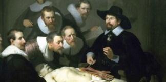 """Rembrandt, """"Lecția de anatomie a doctorului Nicolaes Tulp"""", Muzeul Mauritshuis, Haga"""