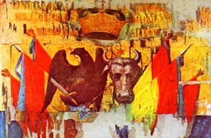 Steag domnesc din timpul lui Alexandru Ioan Cuza, din mătase roșie, galbenă, albastră