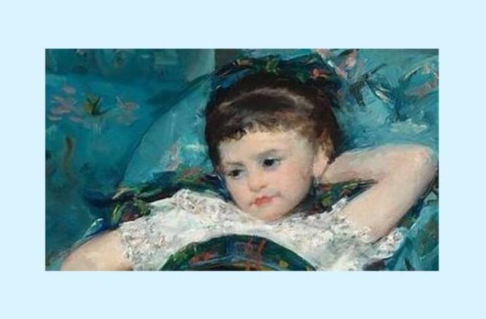 """Mary Cassatt, """"Fetiță în fotoliu albastru"""" (detaliu), 1878,Galeria Națională de Artă din Washington"""