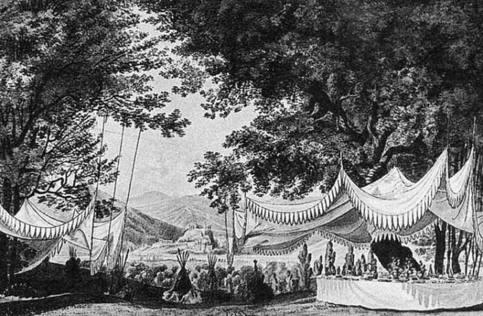 Desen de Carl Wilhelm Gropius pentru actul al III-lea al operei 'Der Freischütz' de Weber, 1821