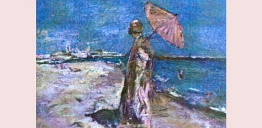 """Gheorghe Petrașcu, """"Femeie în roz pe malul mării"""", 1930, Muzeul Național de Artă al României"""