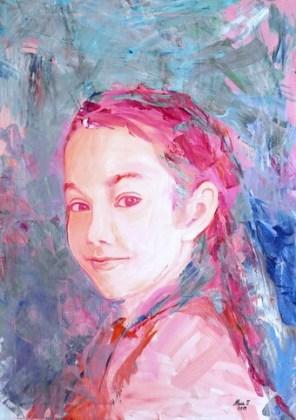 Autoportret, 2019, acrilice pe pânză, 70x50 cm