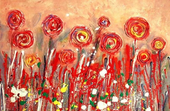 """Maia Truțulescu, """"Flori"""", 2015, acril pe pânză, 50x70 cm"""