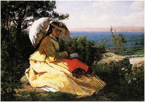 """Jules Breton, """"Femeia cu umbrelă"""", 1871"""