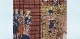 Sfântul Valentin de Terni supraveghind construcția bazilicii sale la Terni, dintr-un manuscris francez din secolul al XIV-lea